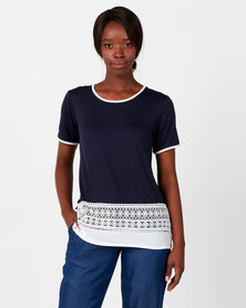 Queenspark Special Core Lace Detail Hem Knit Top Navy