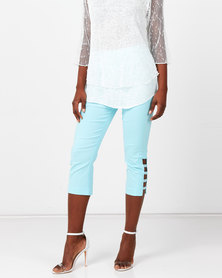Queenspark Stretch Woven Capri Trousers With Hem Detail Aqua