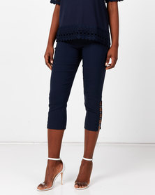 Queenspark Stretch Woven Capri Trousers With Hem Detail Navy