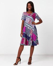 Queenspark Short Sleeve Knitted Umbrella Dress Multicoloured