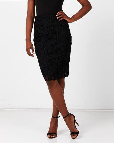 Queenspark Guipure Lace Woven Skirt Black
