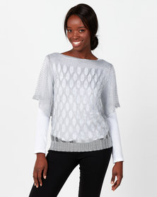 Queenspark Draped Short Sleeve Knit Top Silver
