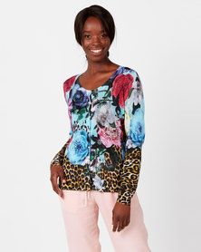 cath.nic By Queenspark Floral & Animal Bejewelled Knit Cardigan Multicoloured