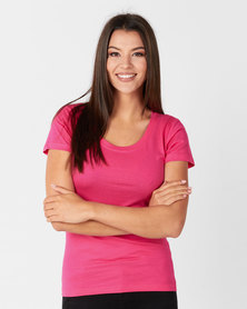 Utopia 100% Cotton Tee Bright Pink