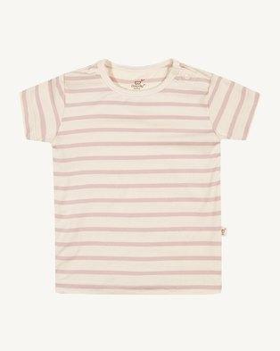 Boody Eco Wear Stripe T-Shirt Chalk/Rose - 2 Pack