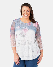 Queenspark Plus Collection Printed Layered Knit Top Blue
