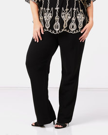 Queenspark Plus Collection Zip Trim Pull On Knit Pants Black