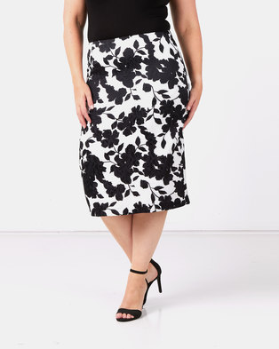 Queenspark Plus Collection Rose Printed Jacquard Woven Skirt Black/White