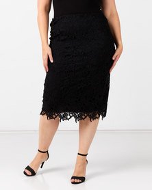 Queenspark Plus Collection Lace Woven Skirt Black
