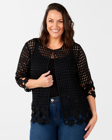 Queenspark Plus Collection Glamour Lace Knit Jacket Black
