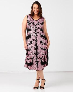 Queenspark Plus Collection Sleeveless Cornelli Knit Dress Black