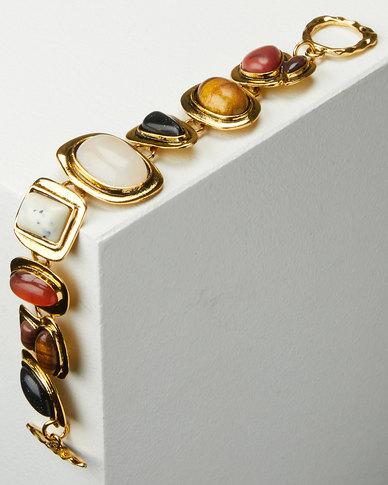Miss Maxi Chunky Natural Stone Bracelet Multi