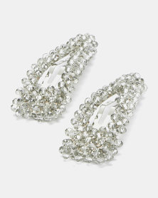 Miss Maxi 2 Pack Triangle Beaded Snap Clip Grey