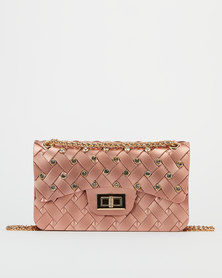 Miss Maxi Diamante Studded Crossbody Bag Rose Gold