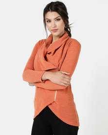 Nucleus Waiting Room Cardigan in Orange