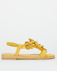 Queenspark Sueded Mini Flowers Elastic Strap Sandals Yellow