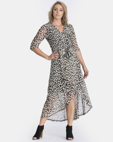 Contempo Animal Dress With Crossover Multi