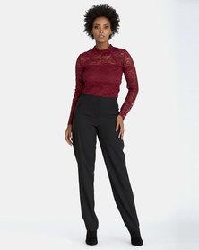 Contempo Fashion Pant With Yoke Detail Black
