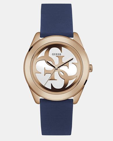 Guess G Twist OD Silicone Strap Watch Blue