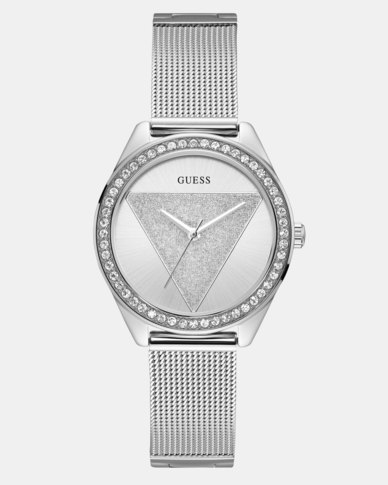Guess Tri Glitz OD Mesh Strap Watch Silver