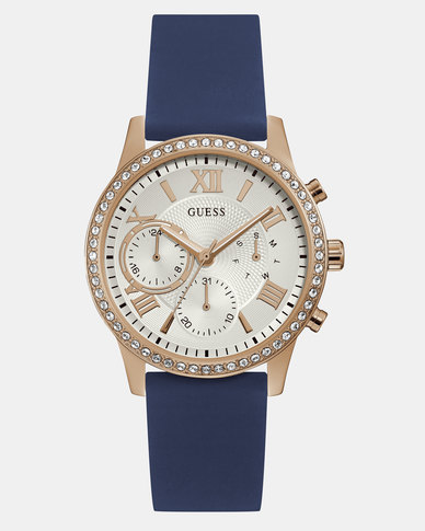 Guess Solar Silicone Strap Watch Blue