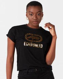 ECKÓ Unltd Animal Printed Logo Tee Black