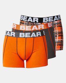 Bear 3 Pack Check Bodyshorts Orange/Multi