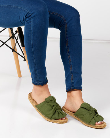KG Canvas Slip On Sandals Green