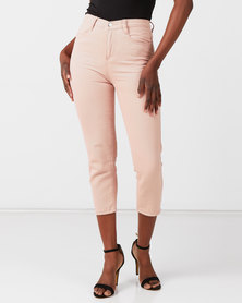 Utopia Mom Fit Jeans With Elastic Pink