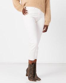 Utopia Mom Fit Jeans With Elastic Milk