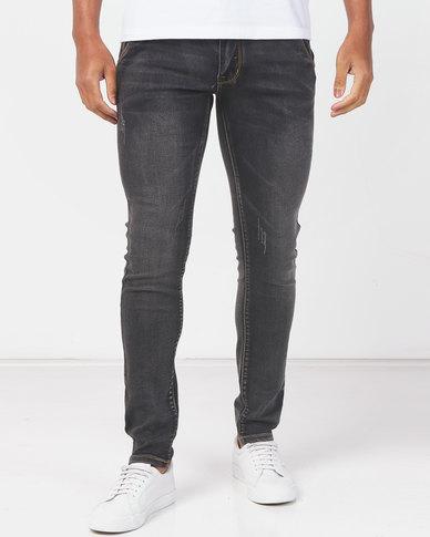 Utopia  Skinny Leg Jeans with Abrasion Grey