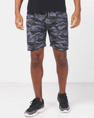 Utopia Camo Cotton Pull on Shorts Grey