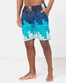 Utopia Block Print Basic Swimshorts Blue