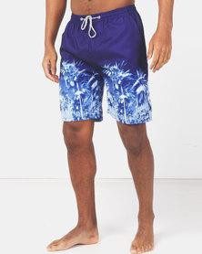 Utopia Border Print Basic Swimshorts Blue