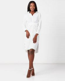 Utopia Linen Look Shirt Dress White