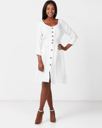 Utopia Button Through Flare Dress With Self Tie White