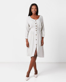 Utopia Button Through Flare Dress With Self Tie Grey