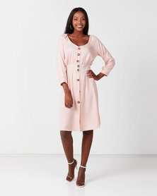 Utopia Button Through Flare Dress With Self Tie Pink