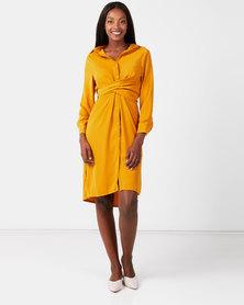 Utopia Linen Look Shirt Dress Mustard