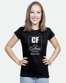 JuiceBubble Coffee Essential Element Ladies T-Shirt Black
