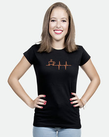 JuiceBubble Coffee Heartbeat Ladies T-Shirt Black