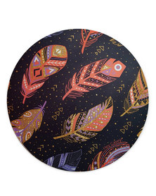 Hey Casey! Round Mouse Pad - Boho Feathers