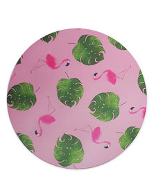 Hey Casey! Round Mouse Pad - Flamingo