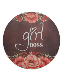 Hey Casey! Round Mouse Pad - Girl Boss