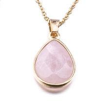 We Heart This Gold Blush Quartz Pendant Necklace