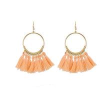 We Heart This Peach Tassel Golden Drop Earrings