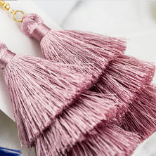 We Heart This Triple Dirty Pink Tassel Drop Earrings