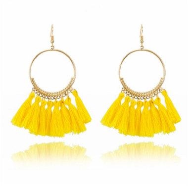 We Heart This Yellow Tassel Golden Drop Earrings