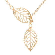 We Heart This Gold Double Leaf Necklace