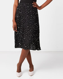 Utopia Spot Pleated Skirt Black/White